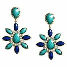 """Make a colorfully stylish statement with these chic earrings, featuring faceted faux stones surrounded by dazzling Austrian crystals.    Product: Pair of earringsConstruction Material: Austrian crystals and stoneColor: Turquoise, lapis and goldFeatures: Starburst-shapedAccommodates: Crystals encircling central stoneDimensions: 3.25"""" H x 2"""" W"""