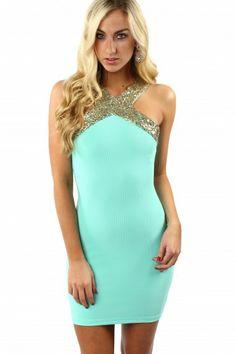 Gilded Sequin Bodycon $38.99 #sophieandtrey #dresses #bodycon #mint #sequin #trim