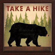 Take a Hike Bear by Ryan Fowler Framed Graphic Art