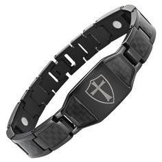 Willis Judd Mens Black Titanium Magnetic Bracelet Knights Templar Cross Shield Black Carbon Fiber Adjustable ** Check out the image by visiting the link. Silver Bracelets, Bracelets For Men, Link Bracelets, Templer, Bracelet Box, Carbon Black, Knights Templar, Coin Jewelry, Free Black