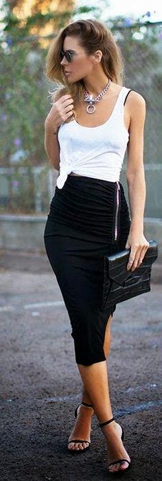 Basic Instinct Ankle Slit Skirt