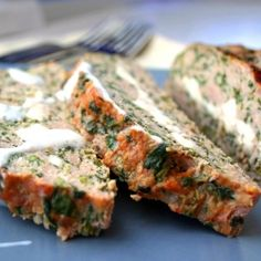 Feta-Stuffed Turkey Meatloaf with Tzatziki Sauce - a greek-inspired take on the ultimate comfort food.