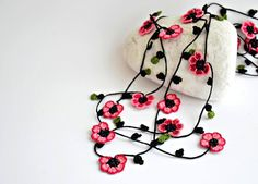 Crochet Necklace Oya Burgundy and Pink Flowers by ReddApple, $26.99