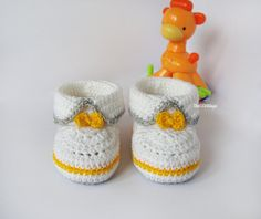 White Grey yellow crochet baby booties baby girl by TheCCVillage,