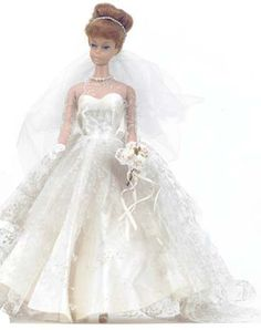 Vintage Barbie Wedding Day Set    Vintage Barbie Wedding Day Set #972 (1959-1962)     Bridal Gown  Veil with Pearls  Blue Garter  Graduated Pearl Necklace  Short White Gloves  Bouquet  White Open Toe Heels
