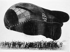 A German barrage balloon and ground crew during World War I.