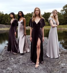 Modern dresses for the chic bride, bridesmaid, wedding guest, and flower girl. Purple Lace Bridesmaid Dresses, Grey Bridesmaids, Velvet Wedding Dresses, Bridesmaid Gowns, Wedding Dress Shopping, Post Wedding, Wedding Shit, Wedding Summer, Wedding Ideas