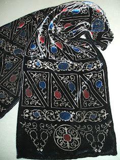Pietra Dura velvet discharge printed scarf by Beckford Silk