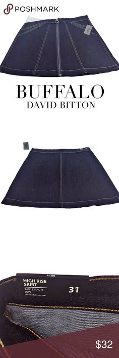 Buffalo by David Bitton high rise skirt size 31 Gorgeous dark wash Denim Skirt - zipper front detail - no pockets - bronze accents - high rise skirt - should hit above the knee - super stretch for comfort all day long - New with tags - retails $69.00 Buffalo David Bitton Skirts Mini