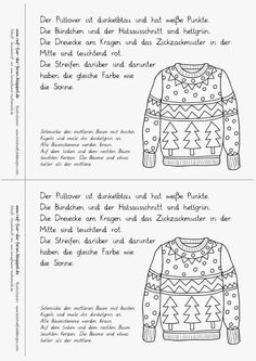 Weihnachtslesebuch - Pullover - New Ideas Mode Crochet, Cycle 2, German Words, Learn German, Winter Kids, German Language, Kids Learning, Back To School, Books To Read