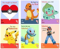 Free printable Pokemon Valentine's Day cards - Pokeball, Charmander, Bulbasaur, Pikachu, Squirtle, Pokemon trainer