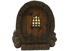 "Home Fashion Polyresin Brown Fairy Door 4""inch For Garden Decoration"