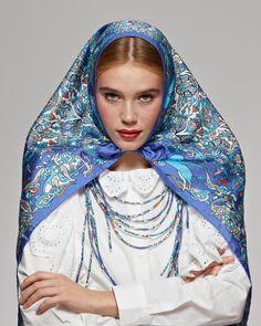 "Russian scarf ""Dragons & Unicorns"" Шелковый платок «Драконы и единороги» Silk Scarves, Russia, Fashion, Moda, Fashion Styles, Fashion Illustrations"