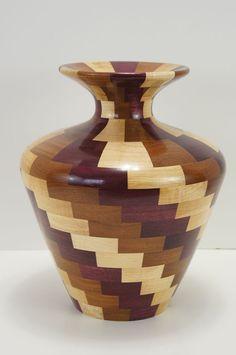 Vase maple afromisa purpleheart by juergenuhrig on Etsy, $275.00