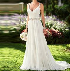 Elegant Chiffon Beaded Boho Wedding Dresses – Boho Universe