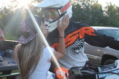 wait this is so cute tho. Motocross Couple, Motocross Love, Motocross Girls, Bike Couple, Motorcycle Couple, Motorcycle Quotes, Perfect Relationship, Cute Relationships, Triumph Motorcycles