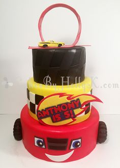 Three Tier Blaze and The Monster Machines Cake with Racetrack Topper - Cakes By HollyK