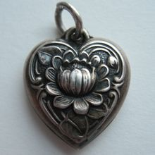 Vintage Sterling Water Lily Puffy Heart Charm