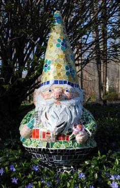 Custom Order Mosaic Garden Gnome Garden Accent by brendapokorny