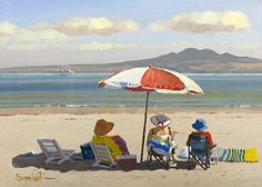 At the Beach, Auckland Canvas Print by Simon Williams for Sale - New Zealand Art Prints