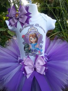 This Handmade Disney princess tutu set consist of Tutu,Top, and bow. This beautiful tutu is made with purple and lavender good quality tulle, Sophia The First Birthday Party Ideas, Sofia Birthday Cake, Princess Sofia Birthday, Princess Sophia, Baby 1st Birthday, Birthday Tutu, First Birthday Parties, Disney Princess Tutu, Toddler Princess Dress