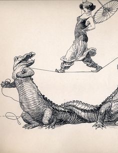 Rope Walk (detail), by Heinrich Kley, one of a series of pen & ink illustrations that appeared in Jugend magazine, 1907