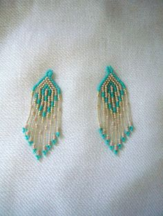 beaded earrings  color:turquoise blue, silver,pale pink