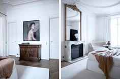 Gilles et Boissier, 19th century flat in Paris, tall white rooms with architectural detailing painted white, rose colored throw over bed, large photo, large scale gilt frame mirror