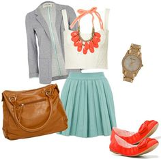 Style a bustier and skirt with pops of color, with coral flats and a statement necklace, a simple tote, grey cardigan and classic watch