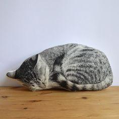 Plush Sleeping Cat Pillow by shannonbroder on Etsy