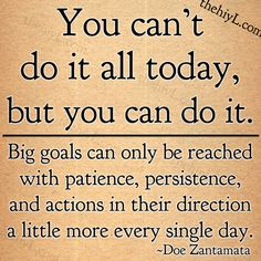You can't do it all today, but you can do it. Big goals can only be reached with patience, persistence, and actions in their direction a little more every single day ~ Doe Zantamata