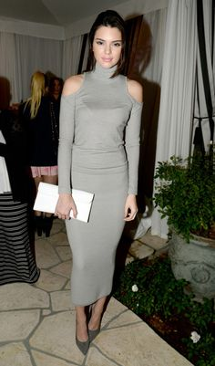Kendall Jenner proves that keeping warm doesn't have to mean bulky knits. Need this dress