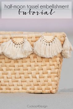 How to make half-moon tassel embellishments for home and fashion accessories | how to customize baskets | how to customize lampshades | tassel embellishments | tassel DIY | decorating with tassels | half-moon tassel embellishment tutorial via @jakonya Sell Diy, Diy Crafts To Sell, Diy Tassel, Tassels, Free Macrame Patterns, Macrame Tutorial, Wedding Art, Better Half, Travel Design