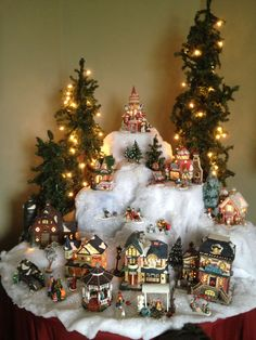 """Particularly like the """"snow"""", shape, & levels. Will try to incor… – The Best DIY Outdoor Christmas Decor Christmas Tree Village, Christmas Town, Christmas Villages, Rustic Christmas, Christmas Holidays, Christmas Wreaths, Christmas Ornaments, Victorian Christmas, Vintage Christmas"""