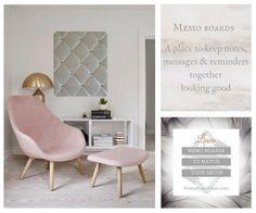 Ivory Linen Memo Board Blush Pink Lounger NoticeBoardStore