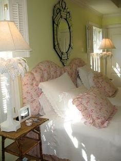 pink and green guest bedroom
