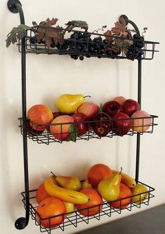 Produce Storage, Fruit Storage, Wire Basket Shelves, Baskets On Wall, Wall Basket, Wire Baskets, Kitchen Wall Storage, Kitchen Organization, Industrial Wall Shelves