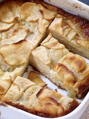 Cookbook author Dorie Greenspan says these custardy apple squares can be served plain or with whipped cream or ice cream. (Photo: Houghton Mifflin Harcourt)