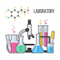 Science equipment in chemistry laboratory vector with microscope, test glass tube and flask. Pharmacy and chemistry, education and science vector concept. Chemistry Art, Chemistry Classroom, Chemistry Drawing, Organic Chemistry, Science Lab Decorations, Library Logo, Medical Technology, Vector Technology, Teaching Technology