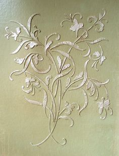 Raised Plaster Large Mystic Stencil, Paint Stencil..Raised designs are EASY with our beautiful stencils! Use common joint compound (also called Wall Mud). It comes pre-mixed for you in a bucket and is available in the paint section of most home and hardware stores and acts just like frosting. Just get some on a small trowel or putty knife and spread evenly over the top of the stencil, lift the stencil and there's the design! .