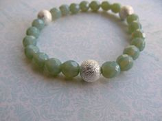 Sage Green Stackable bracelet by HappyTearsbyMicah on Etsy, $15.00