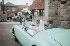 Mint Green Wedding Car | Eliza Claire Photography | At Home English Country Garden Wedding | Rustic Farm Marquee Reception | DIY Decor & Flowers | Pronovias White One Neive Wedding Dress | Pastel Green Claudia Ghost Bridesmaid Dress