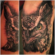 Owl, tattoo, realistic, black and gray, ink, art ..