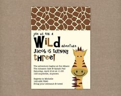 Custom Printable ZOO or JUNGLE Birthday by thepaperblossomshop, $10.00
