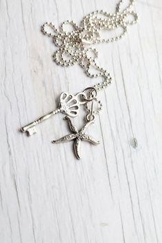 Key & Starfish Pendant