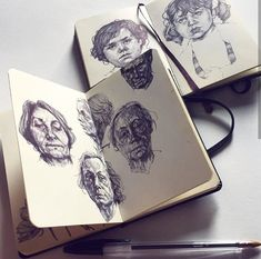 Sketch Book Ballpoint sketches by Gaia Alari - Pencil Art Drawings, Drawing Sketches, Drawing Faces, Drawing Tips, Art Journal Pages, Arte Sketchbook, Sketchbook Pages, Sketchbook Inspiration, People Art