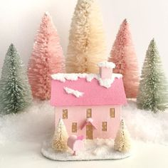 Creating some new Valentine Putz Houses to warm your winter days!  #etsyshop #winterdecor #putzhouse #glitterhouse #papercraft #valentinesday #pinklove #pinkandgold #diycrafts #abmlifeiscolorful #makersgonnamake #crafts #valentine #creativityfound #creativelifehappylife #lovepink