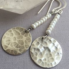 Oxidized Sterling Silver disc earrings with white Pearls.