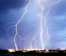 Multiple lightning strikes on a city at night #electricity