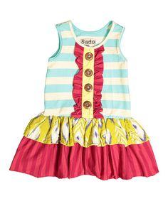 Loving this Blue Stripe Sleeveless Ruffle Dress - Infant, Toddler & Girls on #zulily! #zulilyfinds
